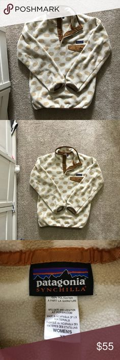 """Patagonia Polka Dot Synchilla Snap T Pullover, XS Love this cozy synchilla pullover! In excellent used condition, just narrowing down my fleece collection. Adorable polka dot pattern with snaps at neck. It's an XS but the style is a bit """"oversized"""". Patagonia Tops Sweatshirts & Hoodies"""