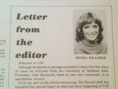 Ronda Willsher, Record editor, in 1981.