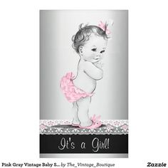 Pink Gray Vintage Baby Shower Banner