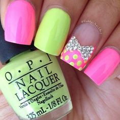 Bow and Polka Dots Neon Nail Design.