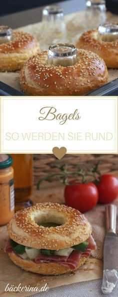 Bagels com sementes de gergelim - backen - Delicious Pancakes Pizza Recipes, Bread Recipes, Baking Recipes, Chicken Recipes, Drink Recipes, Sandwich Recipes, Snacks Recipes, Recipe Chicken, Roast Chicken