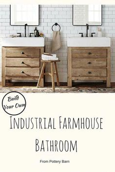farmhouse bathroom from Pottery Barn is absolutely stunning. I would love to design my next bathroom like this!This farmhouse bathroom from Pottery Barn is absolutely stunning. I would love to design my next bathroom like this! Pottery Barn Bathroom, Rustic Bathroom Decor, Rustic Bathrooms, Bathroom Ideas, Inexpensive Bathroom Vanity, Bathroom Makeovers, Luxury Bathrooms, Bathroom Inspo, Bathroom Designs