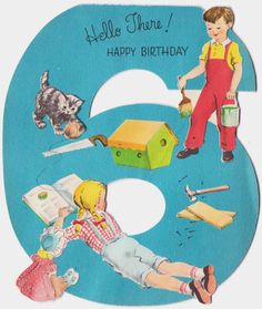 Vintage Birthday Card For 6 Year Old Cartoon Art Cards