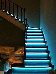 Automatic lighting systems for stairs - Automatic stair lighting. Stair lighting with motion sensors. Smart home - Interactive Home Stairway Art, Stairway Lighting, Strip Lighting, Deco Led, Escalier Design, House Stairs, Basement Stairs, Staircase Design, Stair Design