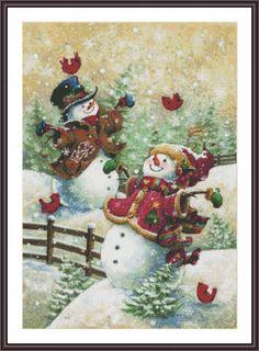 Counted Cross Stitch Pattern Winter Snowman by ZAnnaCrossStitch