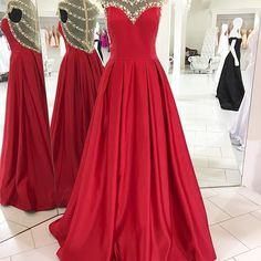 2017 Red Long Prom Dress, Beads Long Prom Dress with Illusion Back, Formal Evening Dress, Wedding Reception Dress
