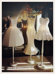 vogueparis:Les robes lampes de l'hôtel Maison Moschino à Milan.