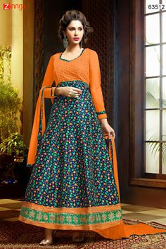 Anarkali Style Blue & Orange with Butta Work Incredible Unstitched Salwar Kameez. Message/call/WhatsApp at +91-9246261661 or Visit www.zinnga.com