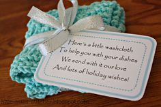 Little Miss Stitcher: Washcloth Gift Idea for Christmas Neighbor Christmas Gifts, Christmas Poems, Neighbor Gifts, Christmas Tag, Christmas Crafts, Valentine Crafts, Christmas Angels, Holiday Wishes, Craft Sale