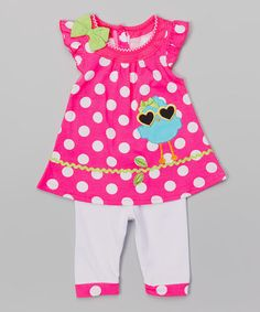 Look what I found on #zulily! Pink Bird Tunic & Leggings - Infant, Toddler & Girls #zulilyfinds