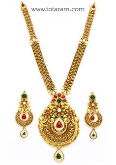 Gold Long Antique Necklace & Ear Hangings Set with Stones Antique Necklace, Antique Jewelry, Gold Necklace, Diamond Jewelry, Gold Jewelry, Beaded Jewelry, Jewellery Sketches, Gold Accessories, Oriental
