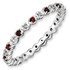 Sterling Silver 2.25mm 0.05ct. White Diamond .27 GA Garnet Eternity Anniversary Ring Band >>> Read more at the image link.