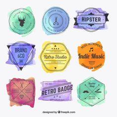 Emblemas hispter Watercolor Vetor grátis