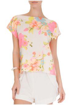 FARM - Blusa amarração floral Amélia - off white - OQVestir