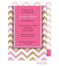 Pink Chevron Invitation- personalize this with your wording for any event including baby shower, bridal shower, birthday party.