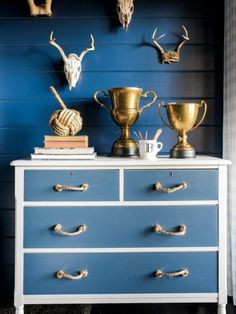 Using two shades of paint and a roll of sisal rope, transform a humdrum wood dresser into a cottage-style dresser.