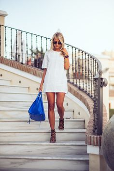 """justthedesign: """"Janni Deler is wearing a white falbala dress from Choies, bag…"""