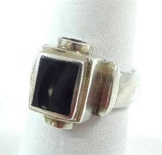 Vintage 925 Sterling Silver Unique Black Onyx Ring Size 8 (9.2g) - 375096 in Jewelry & Watches, Jewelry & Watches | eBay