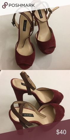 """NEW shoemint raspberry platform heels Bianca platform 6"""" heels in rosewood suede with brown ankle straps, leather upper, size 6.5, never worn Shoemint Shoes Platforms"""