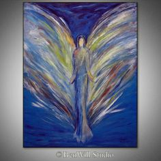 ORIGINAL Angel Art Oil Painting  White ANGEL Painting by benwill, $340.00