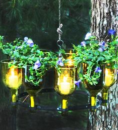 Summer Party Ideas: Go for unique lighting with a wine bottle chandelier.
