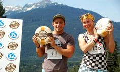 The Cheese Rolling Festival in Whistler, British Columbia, Canada.
