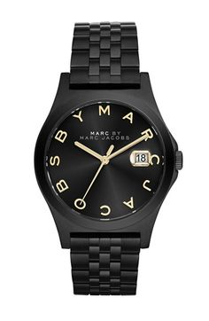 Free shipping and returns on MARC BY MARC JACOBS 'The Slim' Bracelet Watch, 36mm at Nordstrom.com. A gorgeous sun-ray dial sports signature logo indexes on a bold black-out bracelet watch.