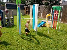 the PVC car wash sprinkler that's been all over pinterest.  We dubbed it the kiddie wash since the kids preferred to run through it.  It took about $30 in materials and less than an hour to put it all together.  well, DH put it together....