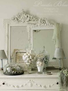 White Shabby Distressed Romantic Mirrors and dresser ~ everything that I love