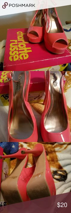 Beautiful coral high heel open toe platform shoes Very gently used Charlotte Russe coral platform high heel open toe shoes Charlotte Russe Shoes Heels