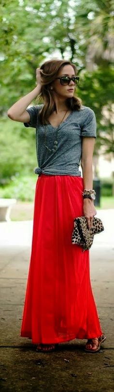 Gray Blouse With Red Flowy Maxi Skirt