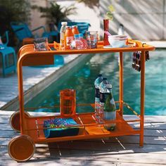Orange Luxembourg Bar Trolley outdoor bar by Fermob | Remodelista