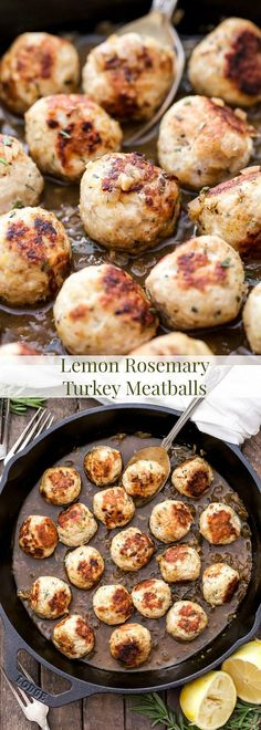 Lean and full of fresh lemon and rosemary flavors. These Skillet Lemon Rosemary Turkey Meatballs simmered in a white wine sauce make a delicious and healthy weeknight dinner!