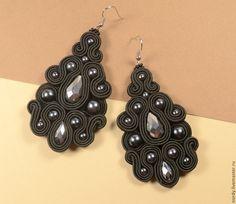 Купить Серьги черные три пары - черный, серебристый, серый, серьги, черные серьги, сутаж