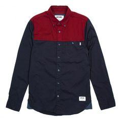 WRUNG Edge chemise à manches longues bleu marine / rouge bordeaux 65,00 € #skate…