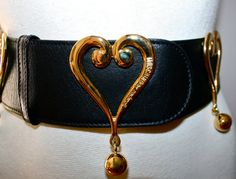 Vintage MOSCHINO REDWALL BELT Wide Black Leather Gold Heart Dangle Ball