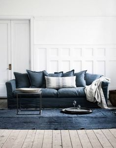 Designer's Take on our Living Room - love this denim blue sofa! Blue Couch Living Room, Blue Couches, Home Living Room, Living Room Decor, Navy Sofa, Living Room Inspiration, Interior Inspiration, Design Inspiration, Denim Sofa