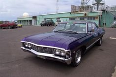 1967 Chevy Impala 4-door in purple! I don't know what I love more, the Impala in black or purple. ♥