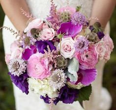 purple pink white and lavender wedding flower bouquet, bridal bouquet, wedding flowers, add pic source on comment and we will update it. www.myfloweraffair.com can create this beautiful wedding flower look.
