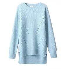Chicnova Fashion Pure Color Irregular Pullover Sweater (3.650 RUB) ❤ liked on Polyvore featuring tops, sweaters, pullover sweater, sweater pullover, blue sweater, blue pullover sweater and blue top