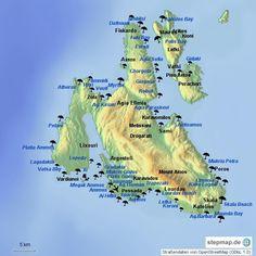 Karte von Kefalonia mit Straenden