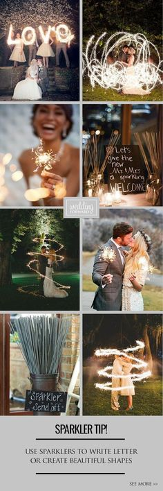 Wedding or event sparklers are longer than usual ones. When your wedding day comes, ask you photographer to do a couple of shoots. -- You can find out more details at the link of the image. #WeddingPlanningTips