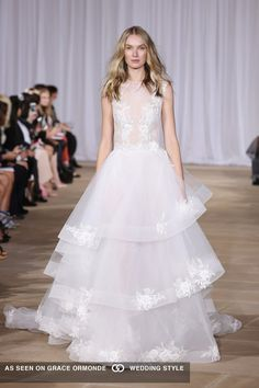 ines di santo lace wedding gown with 3 tier layered tulle skirt from fall 2016 collection
