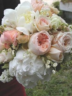 peonies, roses, lily of the valley