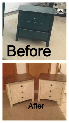 Night Stand Redo Stripped and Stained the tops Annie Sloan Paint in Old White w/ dark wax