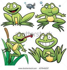 Vector illustration of Frog Set Cartoon - stock vector
