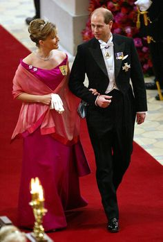 British Prince Edward and Sophie, Countess of Wessex attend the wedding of Danish Crown Prince Frederik and Miss Mary Elizabeth Donaldson at...