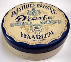 Dutch Droste Chocolate produced in the city of Haarlem Vintage Tins, Retro Vintage, Vintage Graphic, Vintage Market, Vintage Labels, Vintage Antiques, Chocolates, Vintage Packaging, Design Packaging