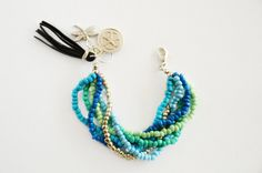Blaue Perlen Charm Armband Bohemian Quaste von PearlandShineJewelry