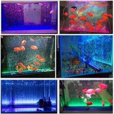 JIAWEN LED Aquarium Fish Tank Light Submersible Air Bubble Lamp Remote Control 47CM AC100 -240V